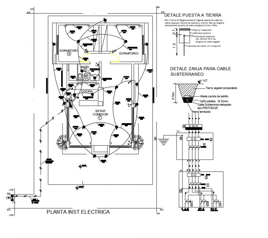 2d cad drawing of housing electrical layout auto cad software
