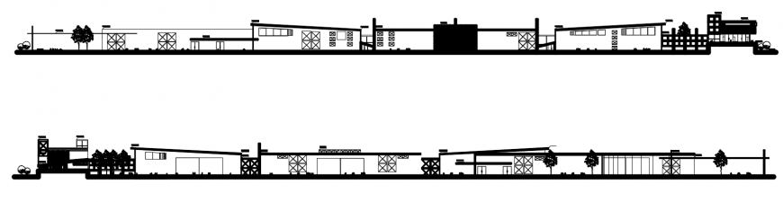 2d cad drawing of industrial centre sections autocad software