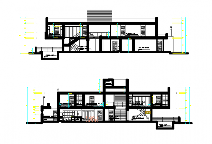 2d cad drawing of inner sections of floor 1 autocad software