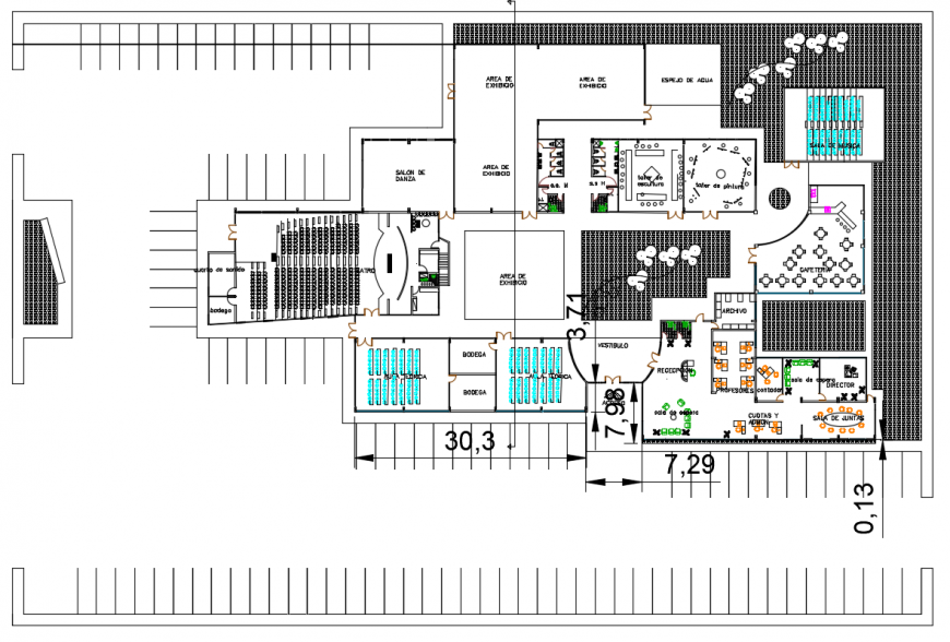 2d cad drawing of institute plan autocad software