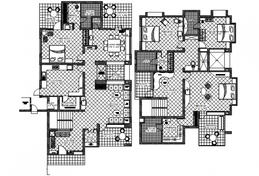 2d cad drawing of interior layout house plan Auto Cad software
