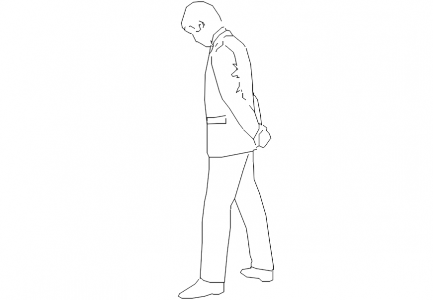 2d cad drawing of jacket sad man Autocad software.