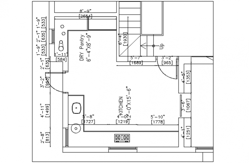 2d cad drawing of kitchen area Autocad software