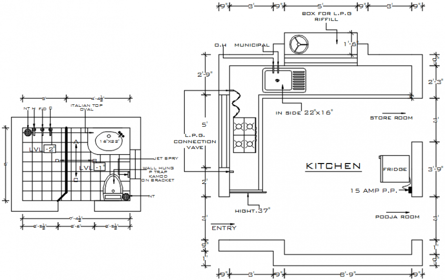 2d cad drawing of kitchen AutoCAD software