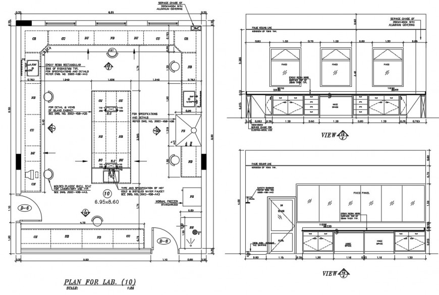 2d cad drawing of lab construction elevation AutoCAD file