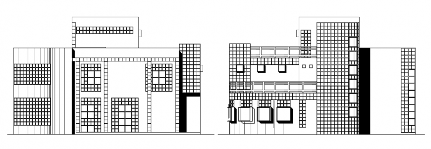 2d cad drawing of late modern house elevation auto cad software