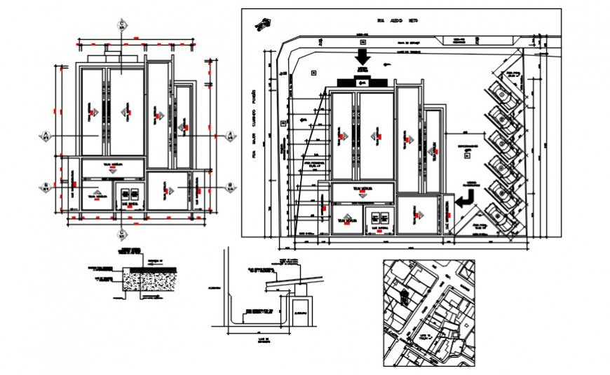 2d cad drawing of library and coffee shop exterior autocad software