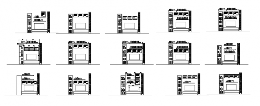 2d cad drawing of library elevation auto cad software