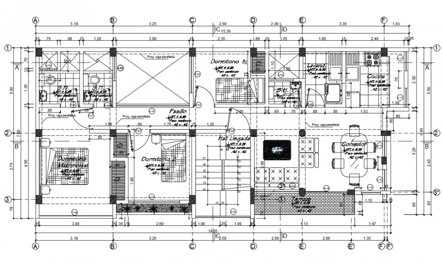 2d cad drawing of living Oliver house plan autocad software