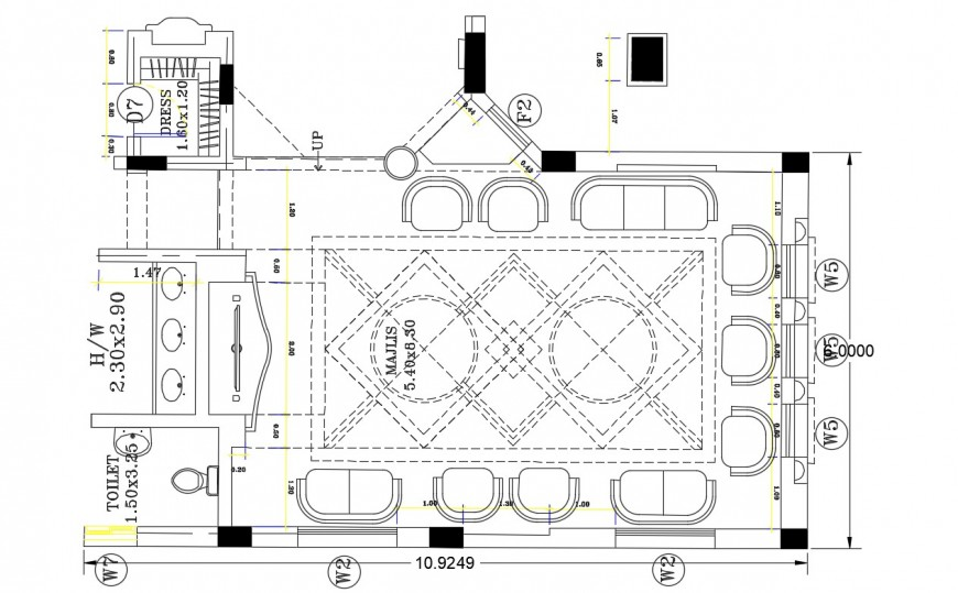 2d cad drawing of lobby waiting for area autocad software