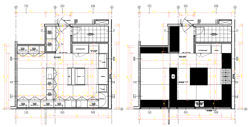 2d cad drawing of luxury kitchen autocad software