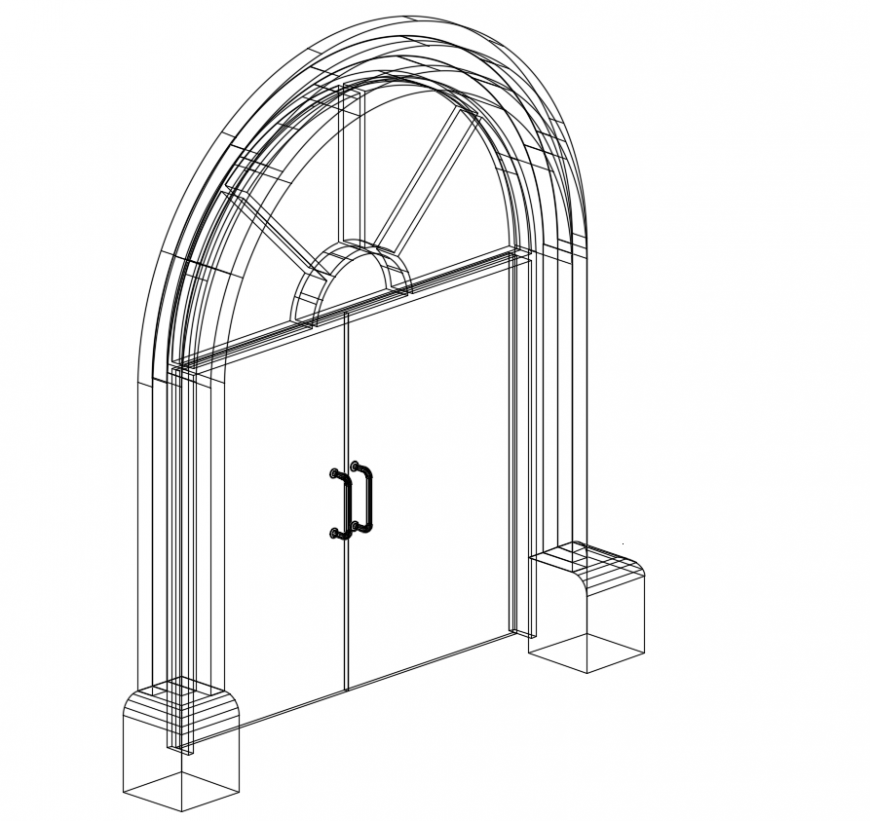 2d cad drawing of main door autocad software