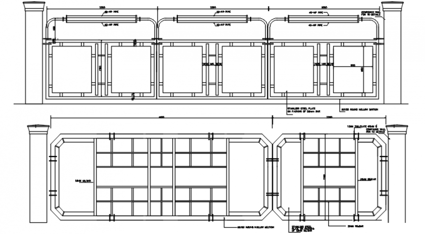 2D cad drawing of main gate  AutoCAD software
