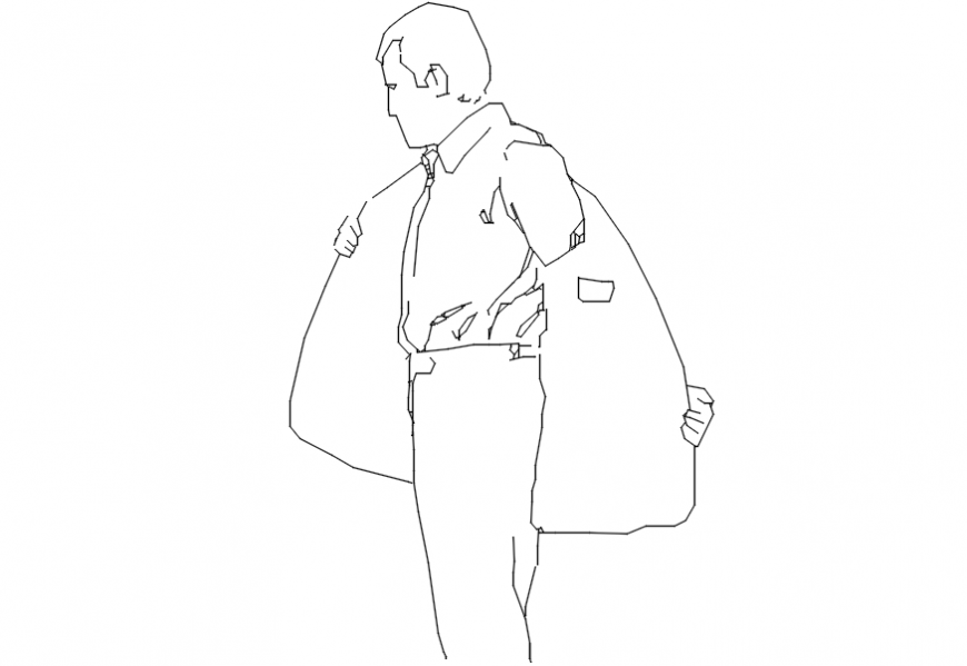 2d cad drawing of men removing jacket Autocad software