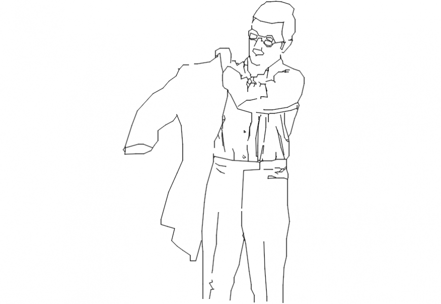 2d cad drawing of men wearing jacket Autocad software