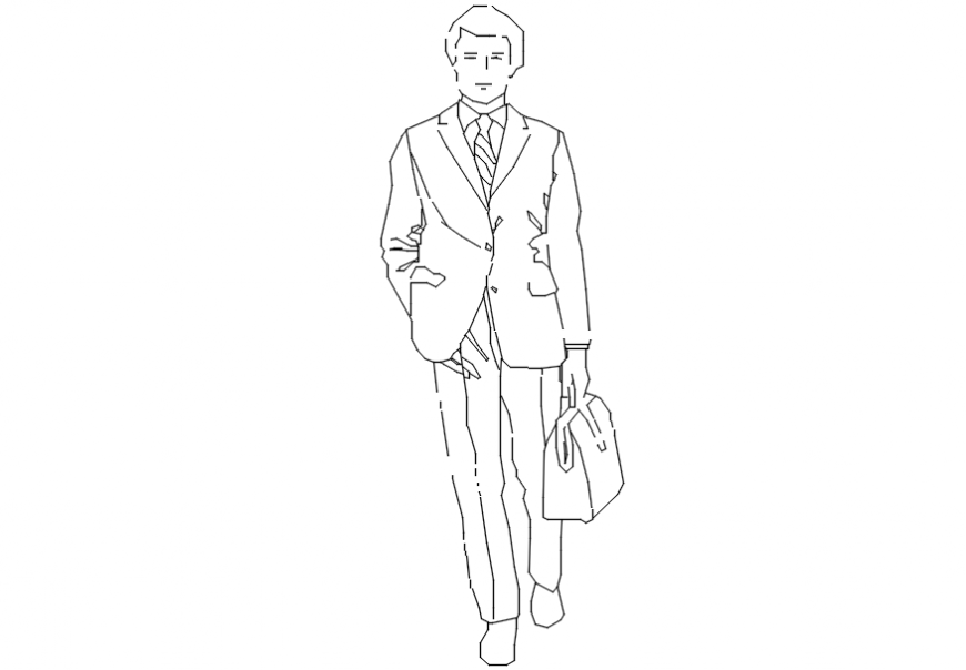 2d cad drawing of men with hand in pocket Autocad software