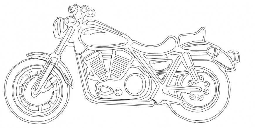 2d cad drawing of motorcycle