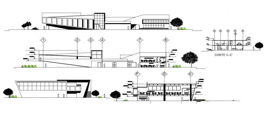 2d cad drawing of office exterior outer view autocad software