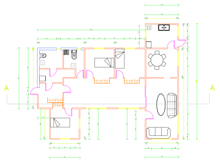 2d cad drawing of P.G house plan autocad software