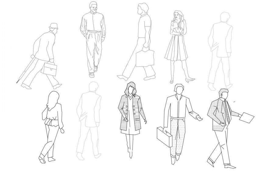 2d cad drawing of people blocks