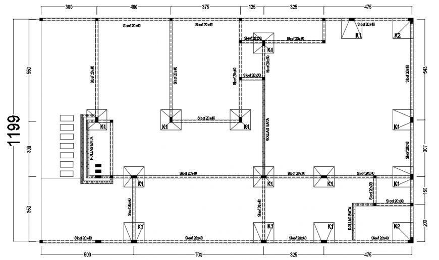 2d cad drawing of PHDM house column detail autocad software