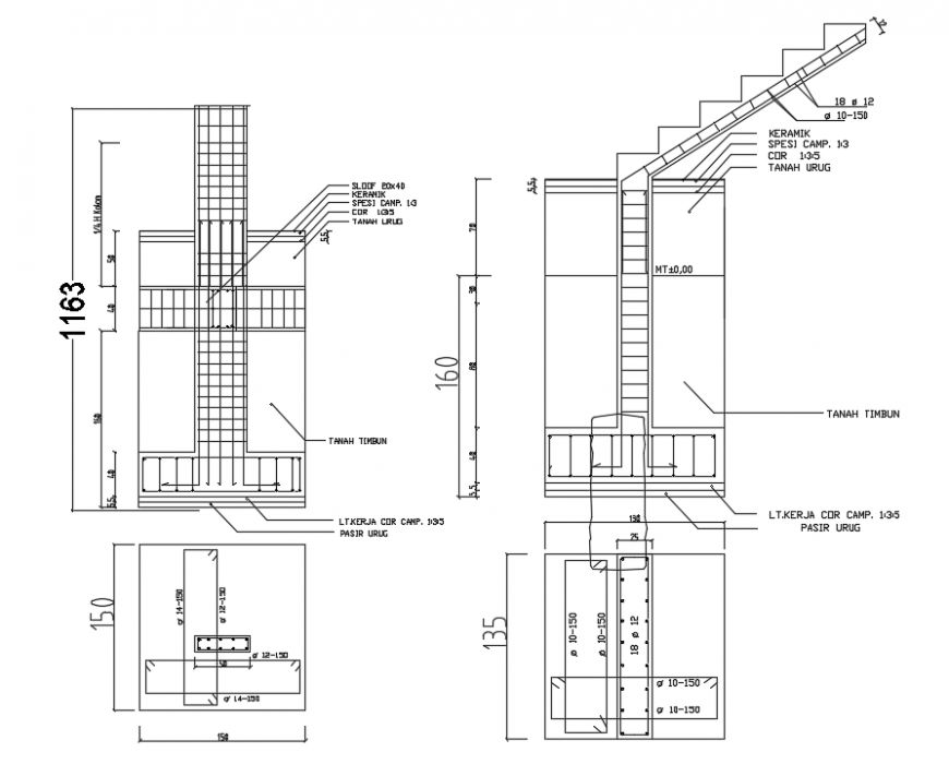 2d cad drawing of PHDM house foundation detail autocad software