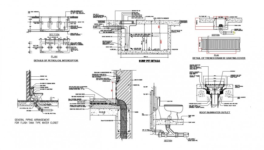 2d cad drawing of piping of flush tank in dwg file