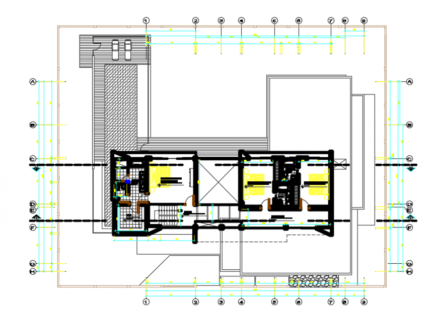 2d cad drawing of plan floor 2 autocad software