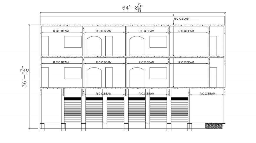 2d cad drawing of RCC beam autocad software