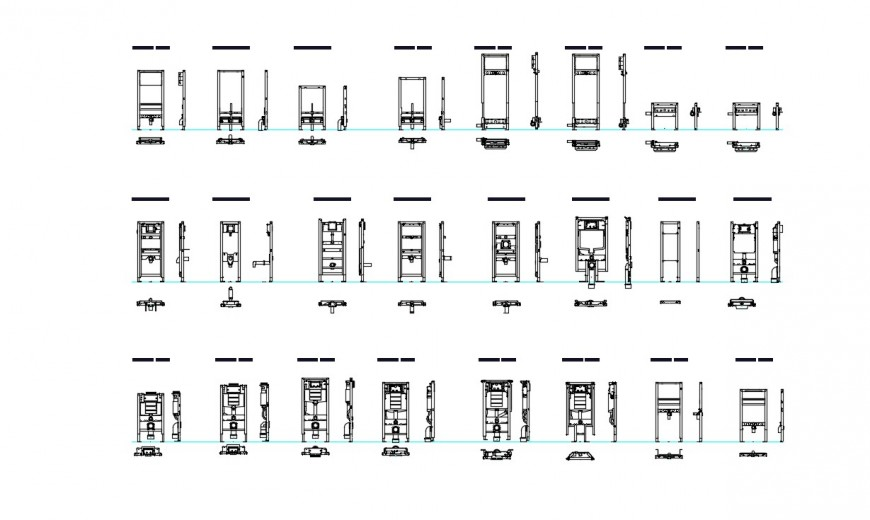 2d cad drawing of refrigerator details autocad file