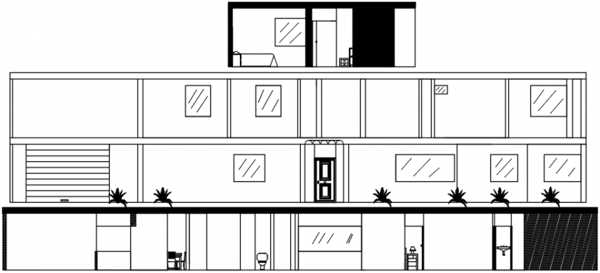 2d cad drawing of residence elevation design