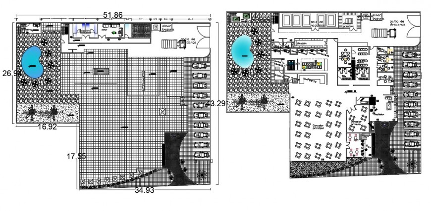 2d cad drawing of restaurant 5 forks AutoCAD software