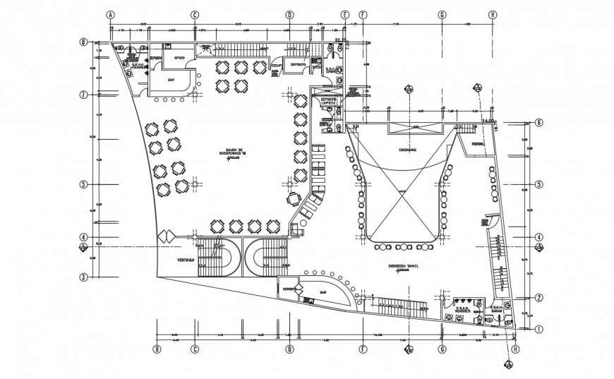 2d cad drawing of restaurant dining area autocad software