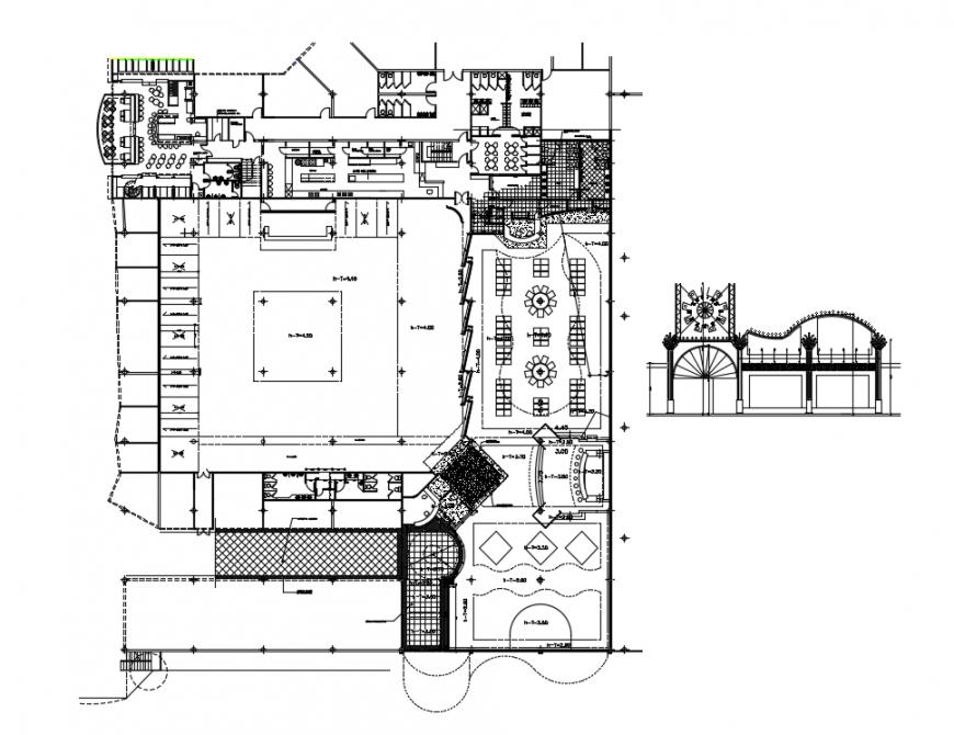 2d cad drawing of restaurant elevation bar  auto cad software