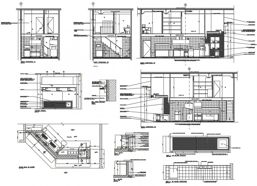 2d Cad drawing of restaurant project detail cad file