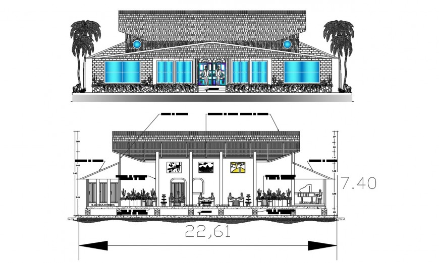 2d cad drawing of restaurant section autocad software