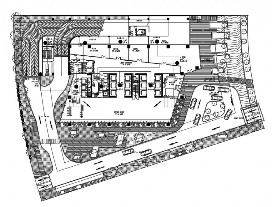 2d Cad drawing of Retail building layout plan