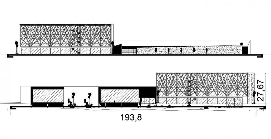 2d cad drawing of retreat centre elevation exterior autocad software