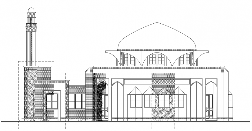 2d cad drawing of right side elevation Auto Cad software