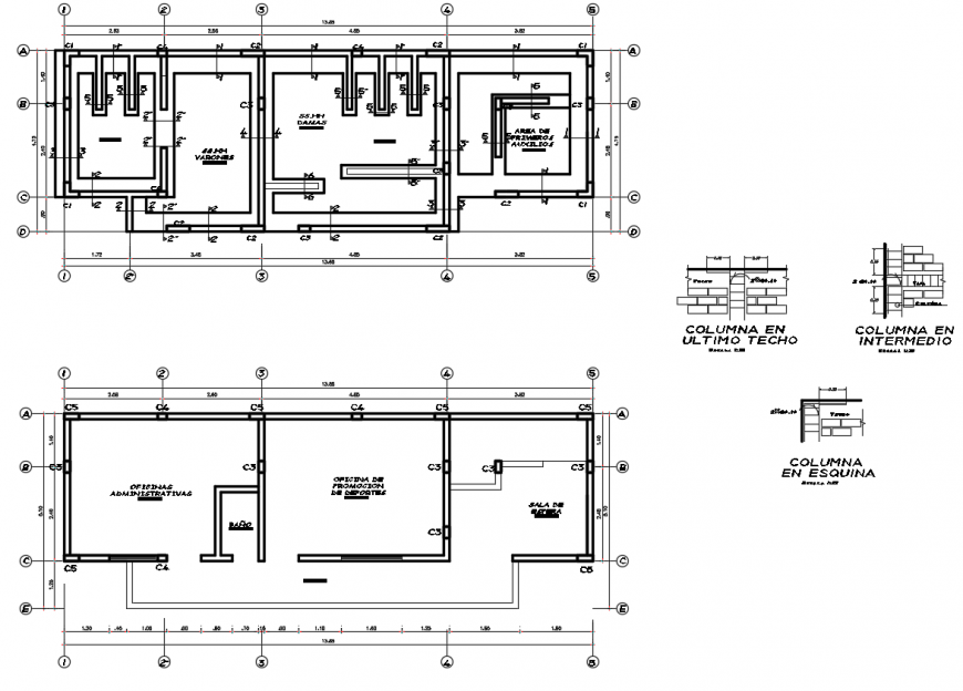 2d cad drawing of roof beam of sports club autocad software