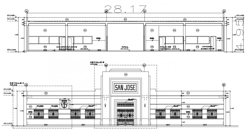 2d cad drawing of San Jose school section autocad software