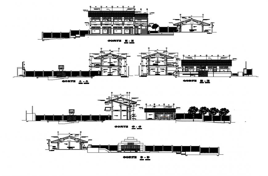 2d cad drawing of school entrance elevation auto cad software