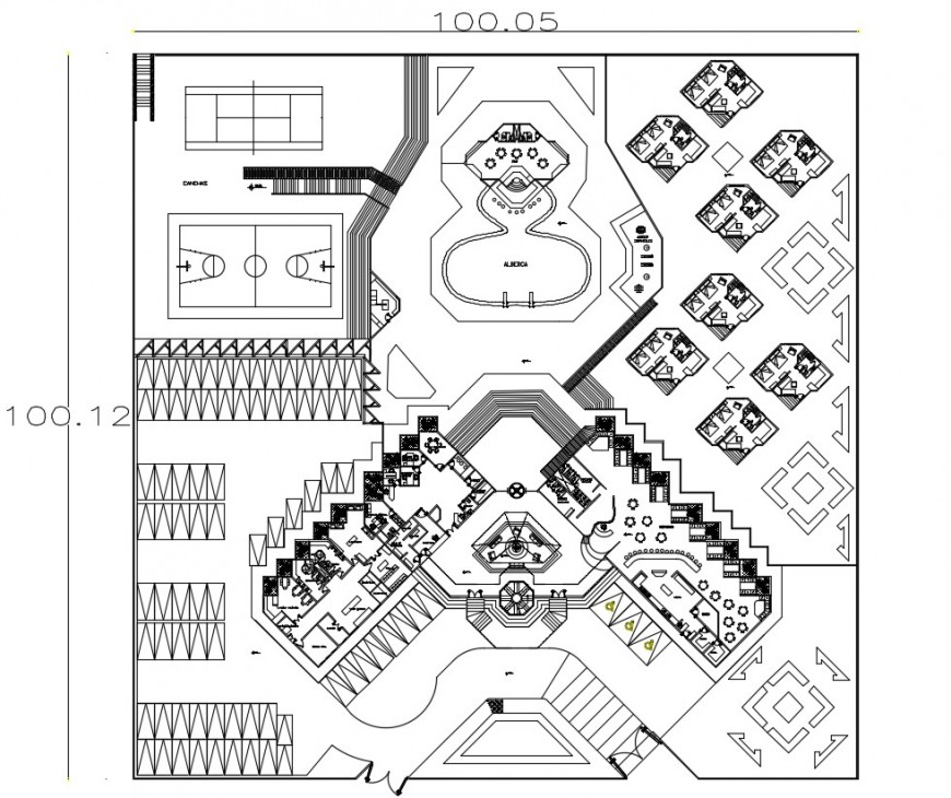 2d cad drawing of school whole elevation top view autocad software