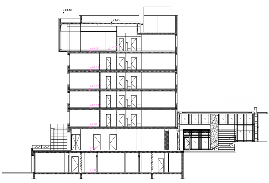 2d cad drawing of section A autocad software