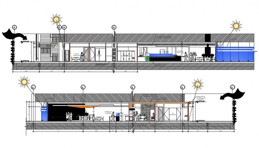 2d cad drawing of section coffee bar autocad software