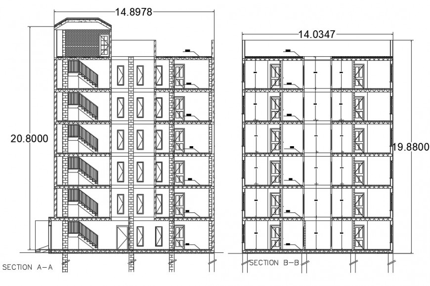 2d cad drawing of section elevation autocad software