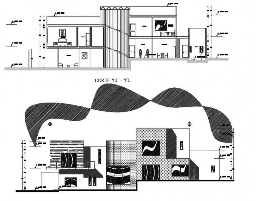 2d cad drawing of section plan architectural autocad software