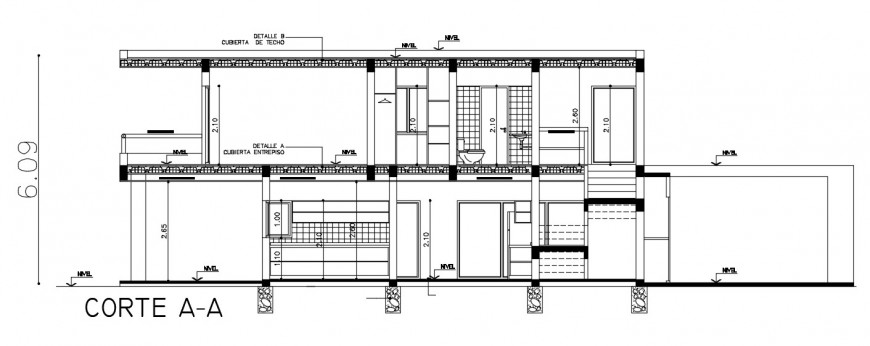 2d cad drawing of section project elevation auto cad software