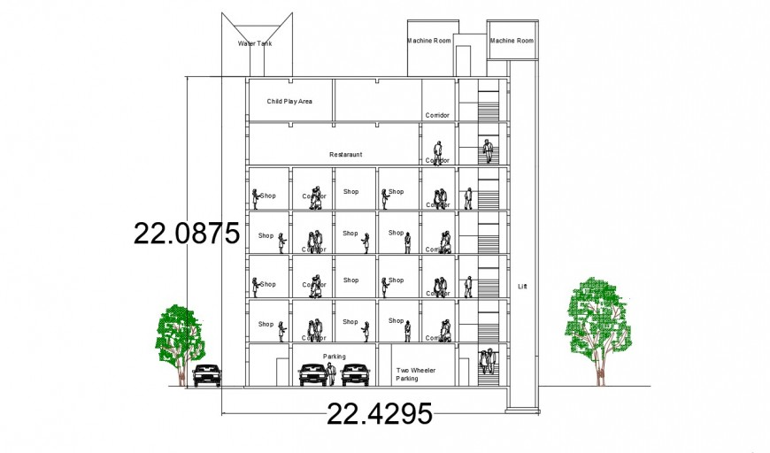 2d cad drawing of shopping center section autocad software
