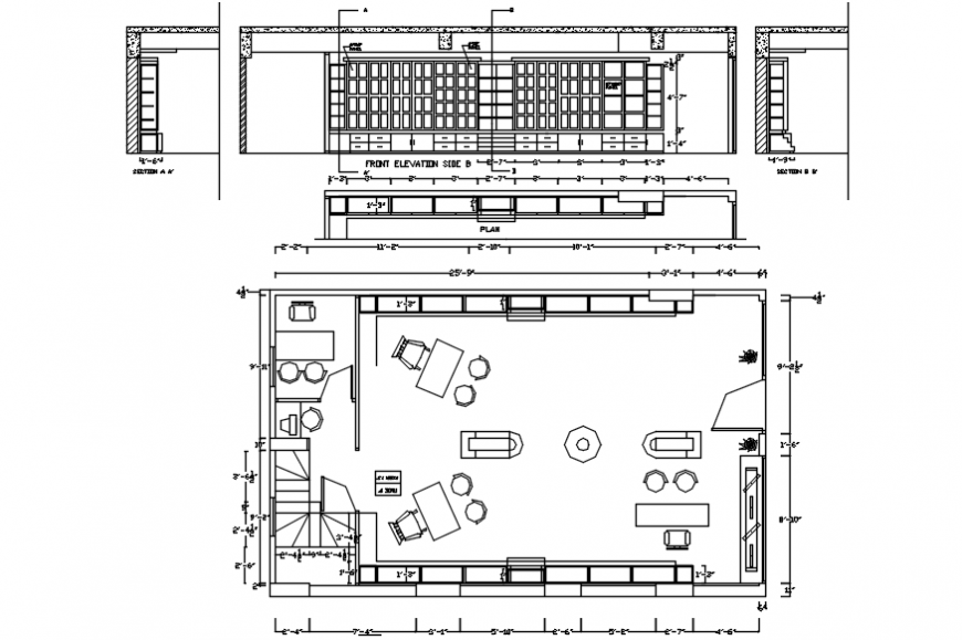 2d cad drawing of showroom AutoCAD software